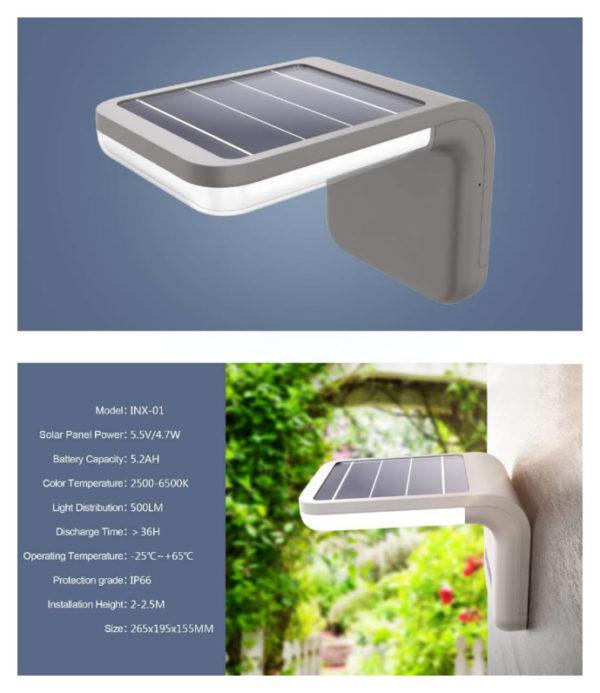 Solar Wall Lamp INX-01 specs