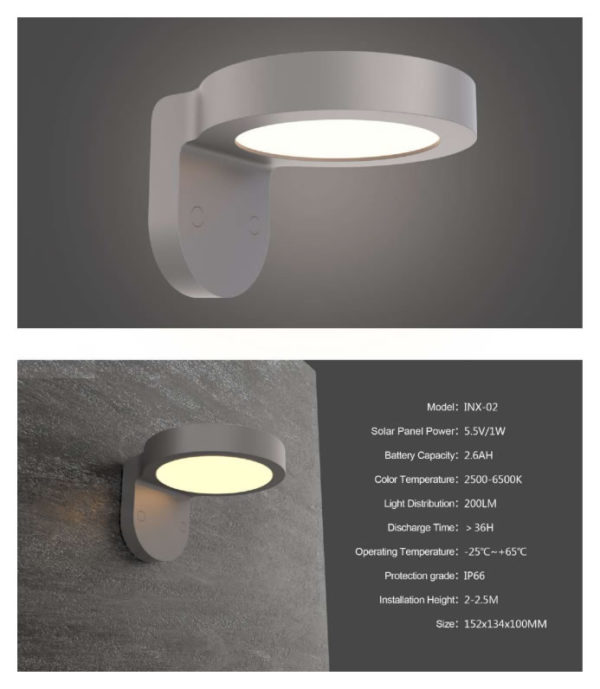 Solar Wall Lamp INX-02 specifications
